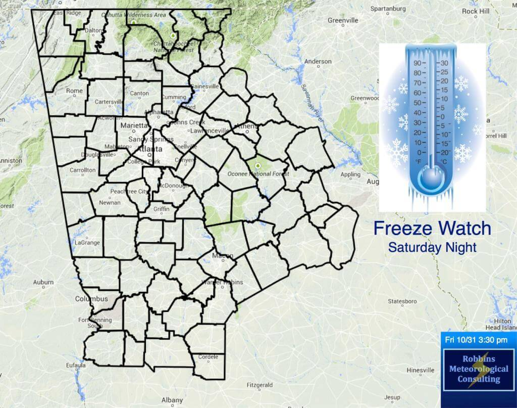 Freeze Watch for all of northern and central Georgia for Saturday night (11/1/14 through 11/2/14 at 9 am EST).
