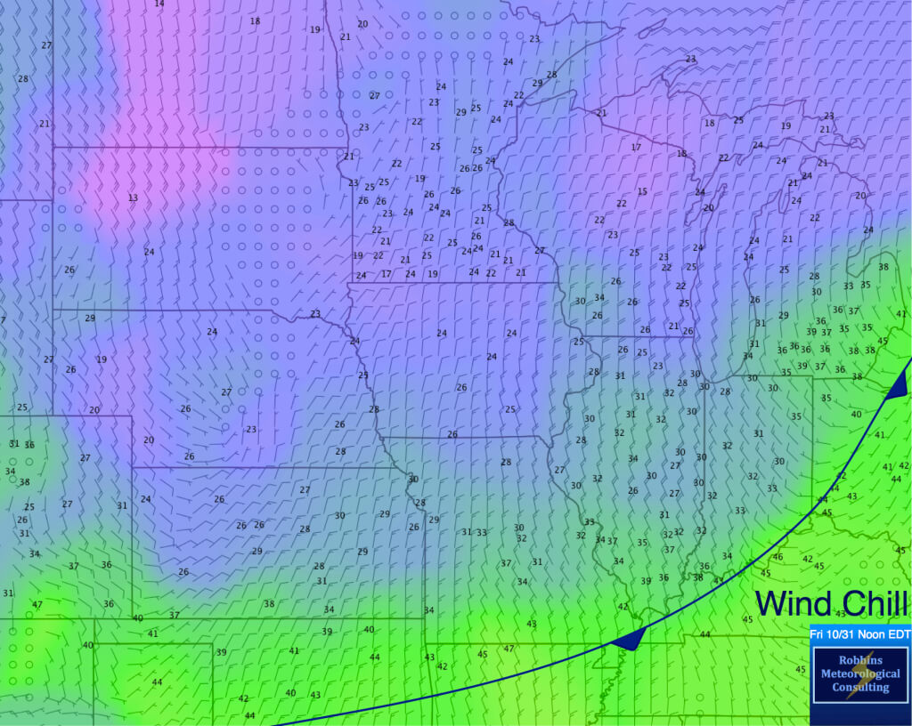 Wind chill at noon EDT (October 31, 2014).