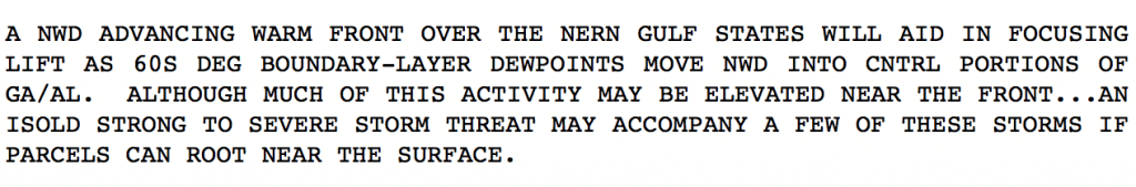 Discussion from the Storm Prediction Center regarding the first round of thunderstorms on Sunday 11/23