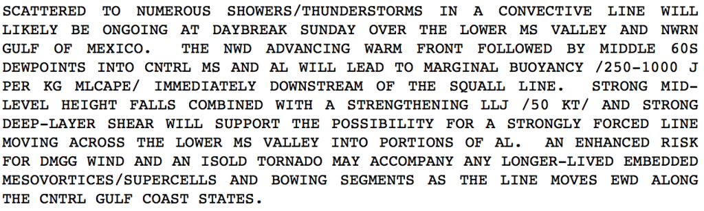 Discussion from the Storm Prediction Center regarding the second round of thunderstorms on Sunday 11/23