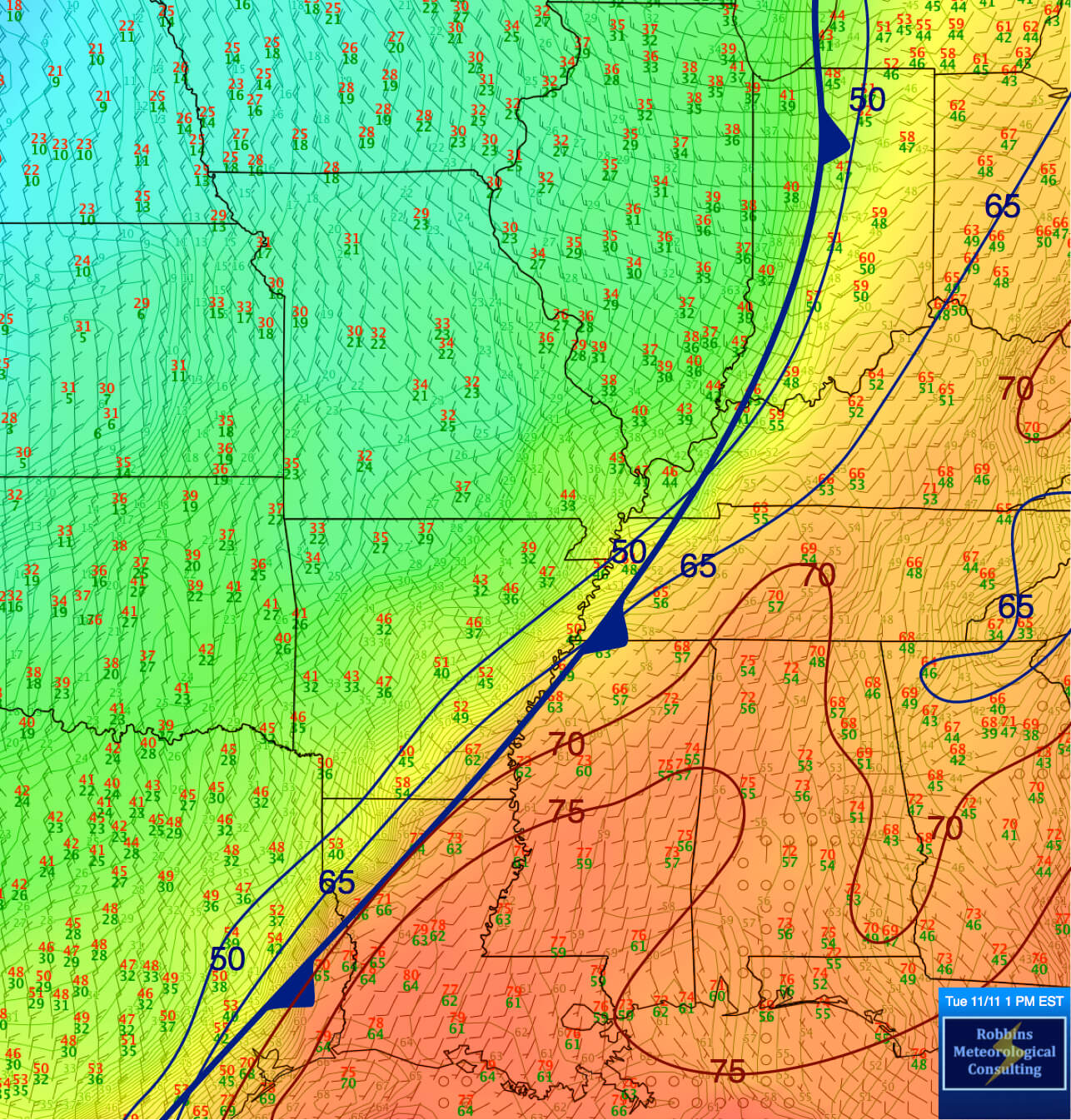 Surface analysis showing the position of the Arctic Front at 1:45 pm EST Tuesday, November 11