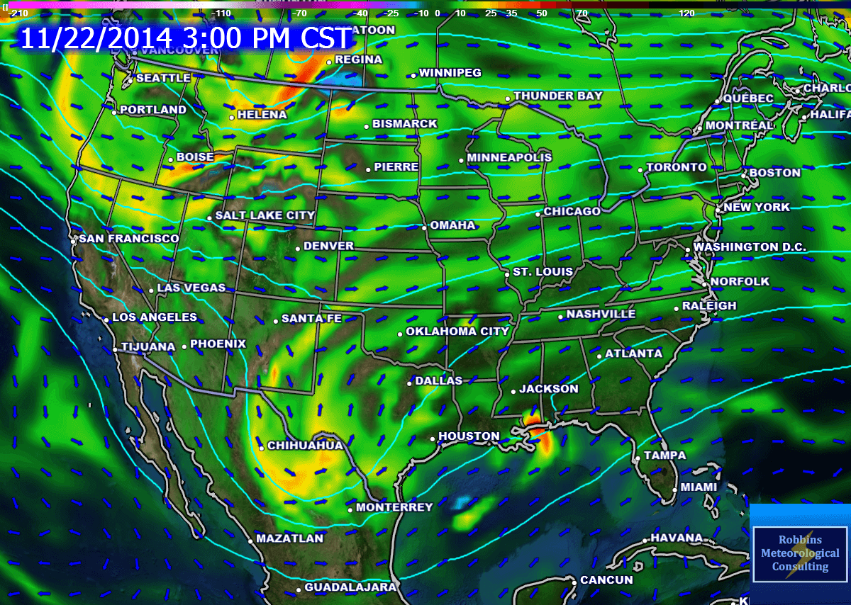 Valid 3 pm today: Upper level disturbance moving into Texas (500-mb vorticity and geopotential height).