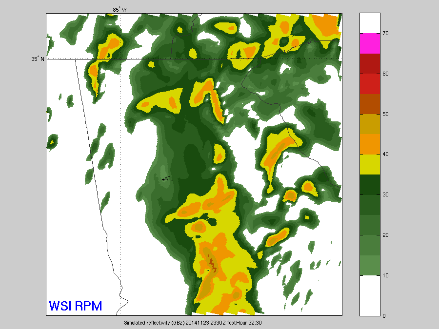 RPM model indicating a line of storms forming, mainly south of I-20 around 6 to 7 p.m. EST. Image Credit: WSI/RPM