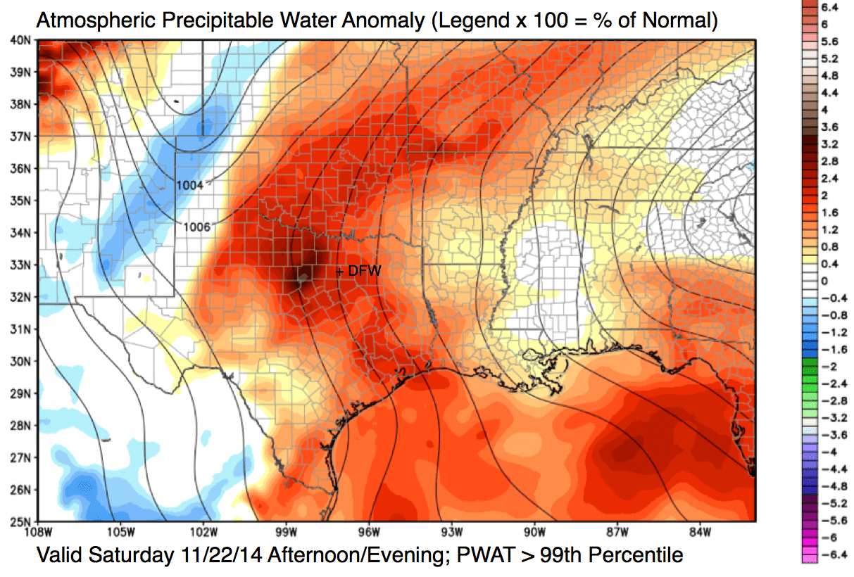 Atmospheric precipitable water content anomaly, valid this afternoon/evening (11/22/14). To determine the percent of normal, multiply the legend by 100.