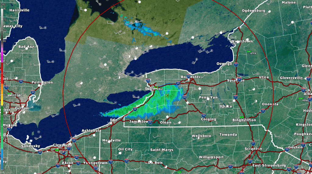 Doppler-radar image from the Buffalo, NY radar