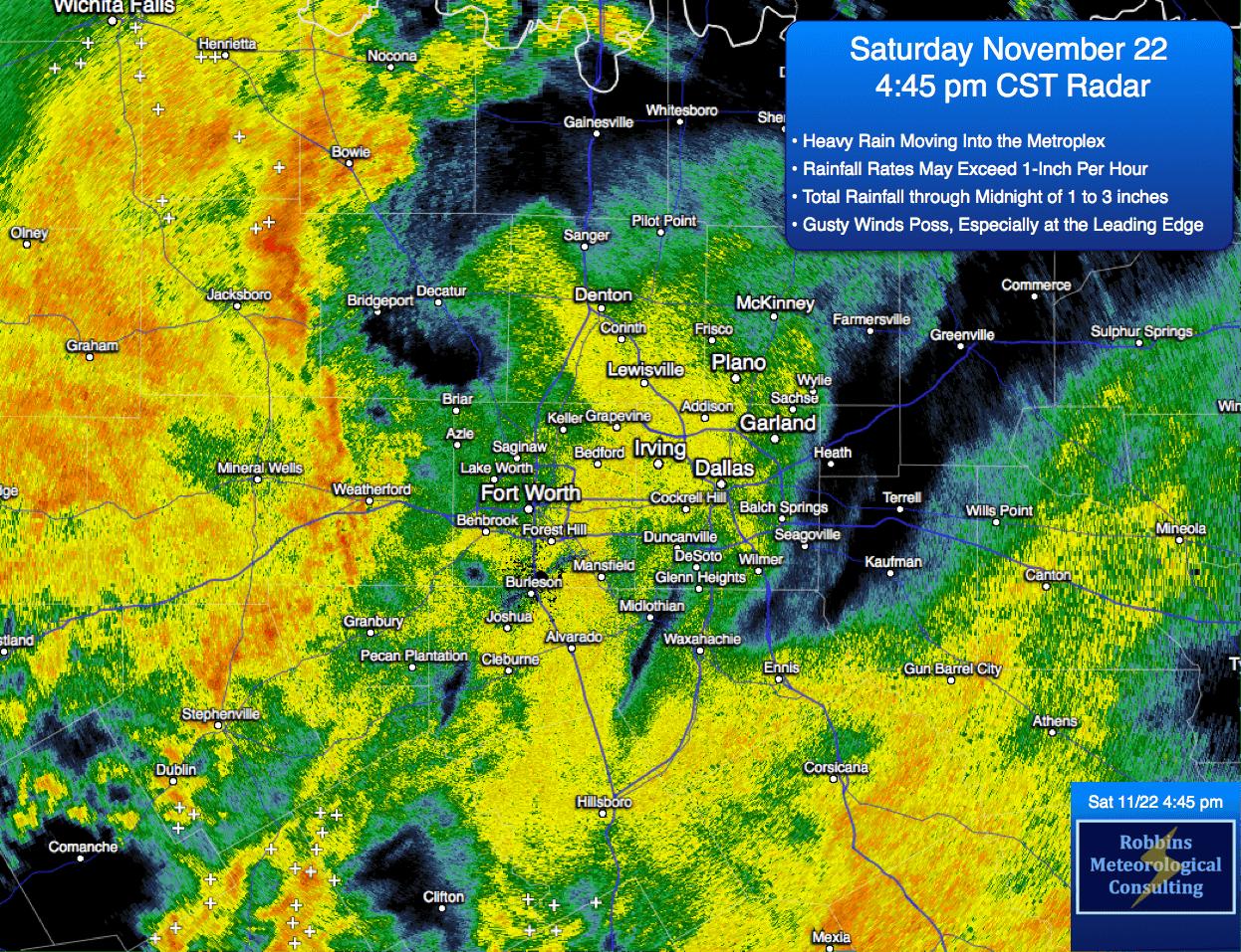 Radar image at 4:45 pm CST (Saturday 11/22/14)