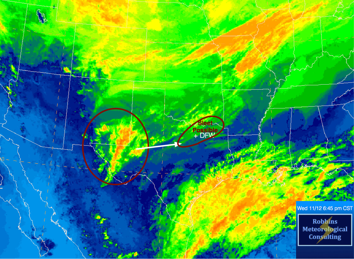 Upper-level disturbance moving into Texas this evening.