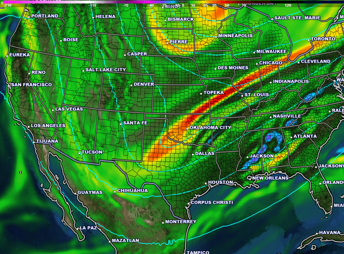 500-mb vorticity & geopotential height at 6 pm Sunday