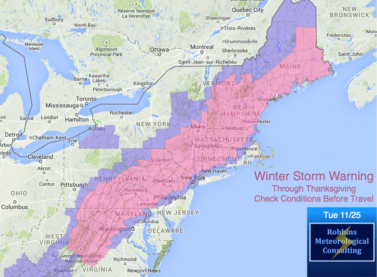 Winter Storm Warnings. Check road conditions and flight delays if traveling.
