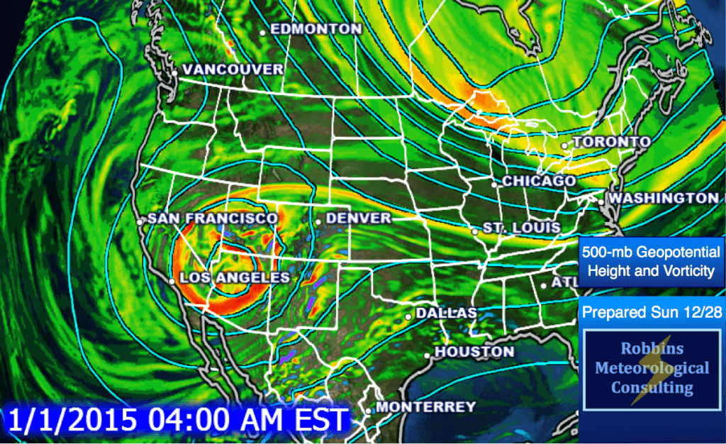 500-mb geopotential height and vorticity at 3 am CST on Thursday, January 1, 2015