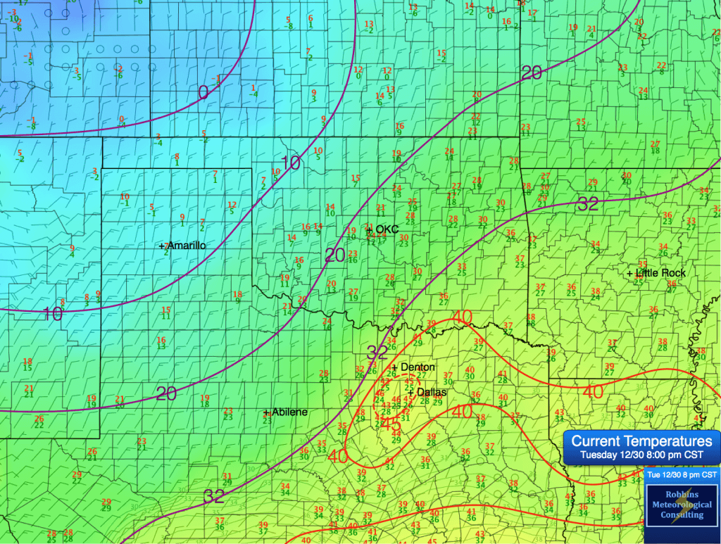 OBSERVED temperatures over the Southern Plains (8 pm CST, Tuesday December 30).