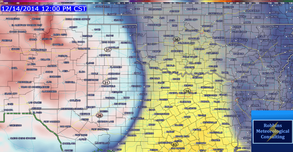 GFS Dewpoints 12pm CDT Sunday