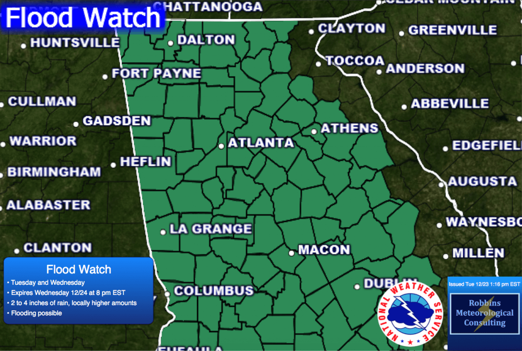 Flood Watch issued by the NWS on Tuesday 12/23 at 1:16 pm EST valid until 8 pm EST Wednesday, December 24.