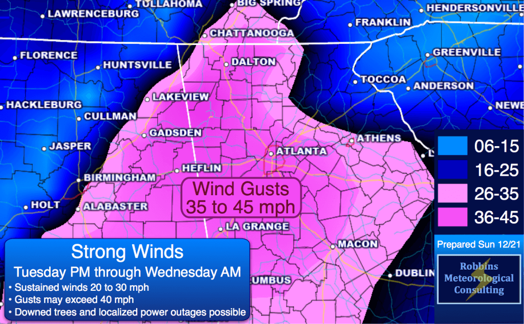 Wind gusts Tuesday night and Wednesday morning.  Sustained winds of 20-30 mph, with gusts to 40+ possible.