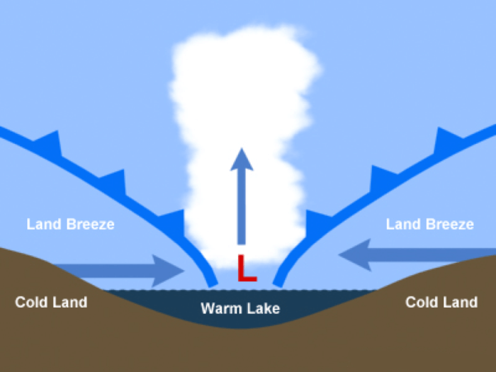 Schematic of a land breeze induced snowband