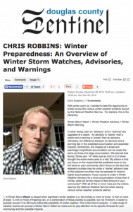 Criteria for Winter Storm Watches, Advisories, and Warnings