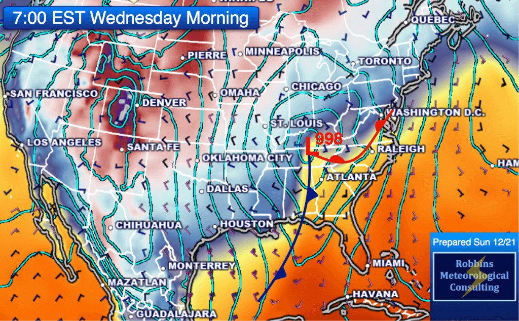 Position of the intense surface low and cold front at 7 am EST Wednesday, December 24.