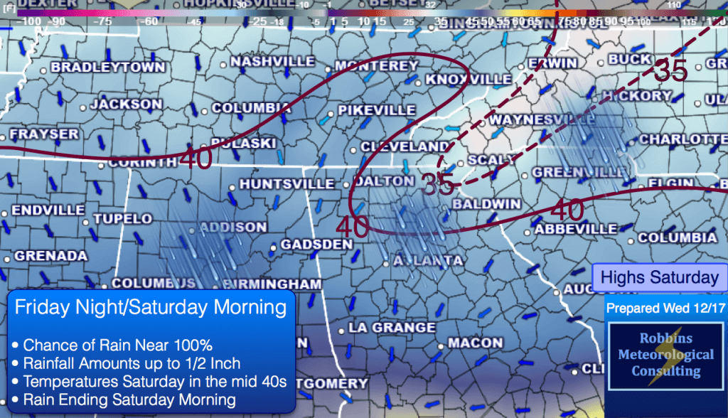 Rain likely Friday night and Saturday morning. High on Saturday in Atlanta in the mid 40s.