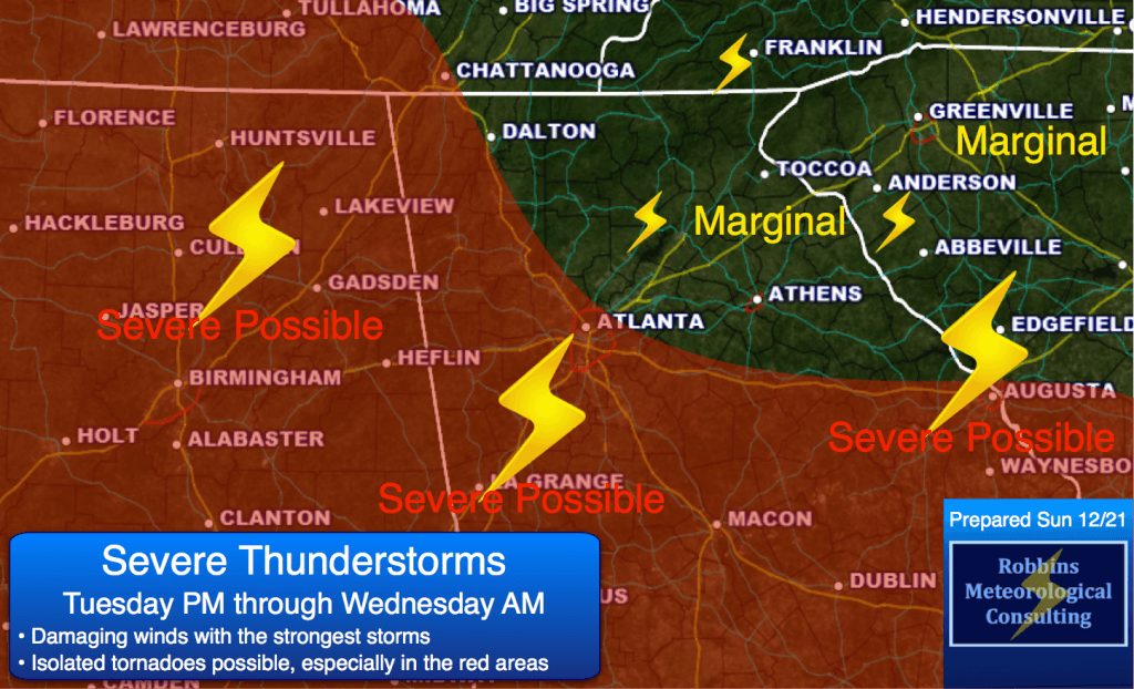 Strong to severe thunderstorms possible Tuesday night and Wednesday morning (12/23 and 12/24).