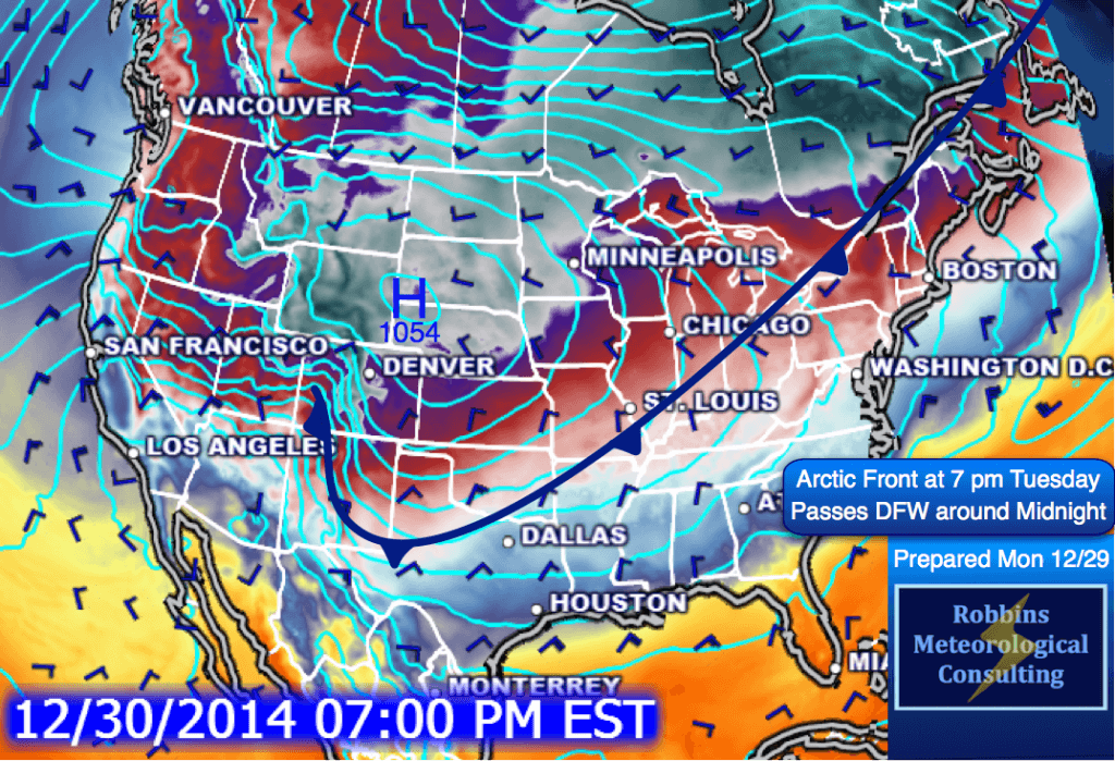 Position of the Arctic front at 7 pm Tuesday (December 30)