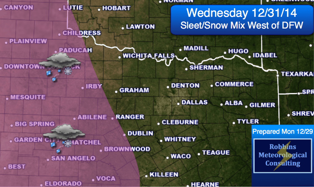 Light sleet/snow mixture possible well west of D/FW on Wednesday. Overcast expected in N. TX.