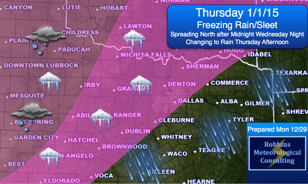 Freezing rain possible Thursday, mainly before noon. Changing to rain in the afternoon. Forecast subject to change.