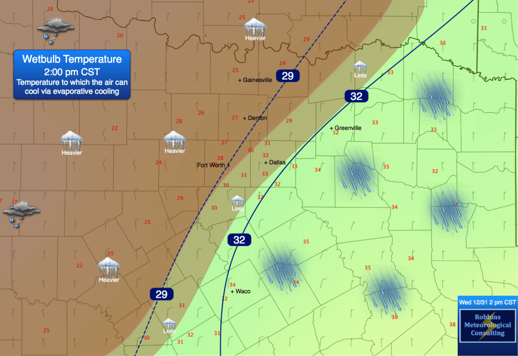 OBSERVED wet-bulb temperatures at 2 pm CST Wednesday (December 31). Superimposed are the precipitation types.