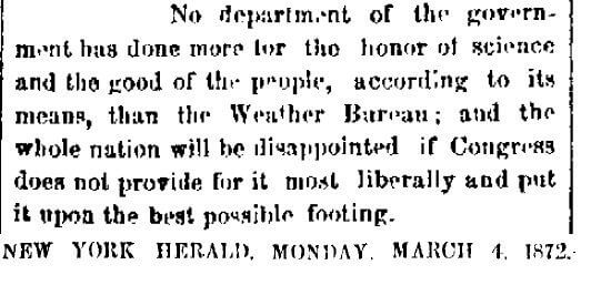 Newspaper editorial about the Weather Bureau (New York Herald, March 4, 1872)