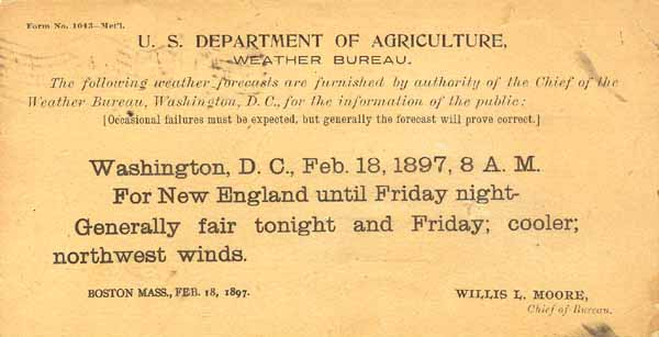 A weather forecast issued by the Weather Bureau on February 18, 1897