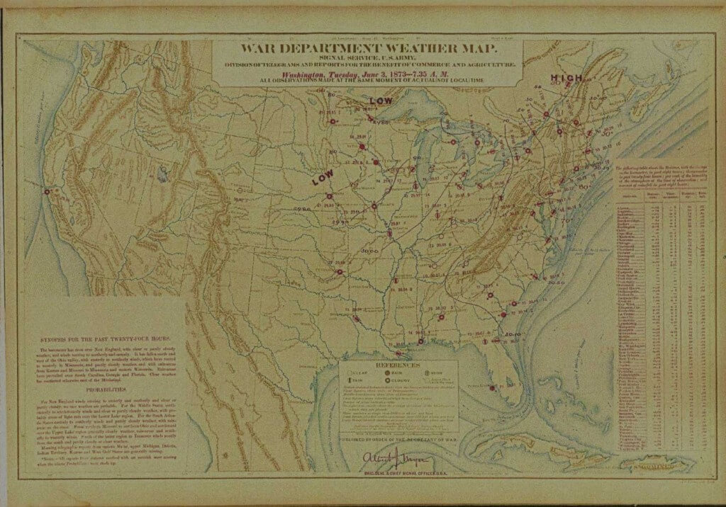 19th Century weather map from 1873