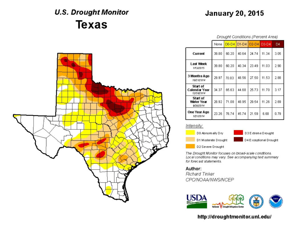 Drought conditions over Texas as of Tuesday, January 20, 2015