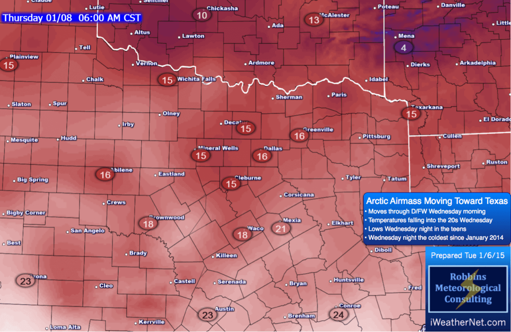 Lows Wednesday night (Thursday morning, 1/8). DFW will be around 15º, outlying areas colder.