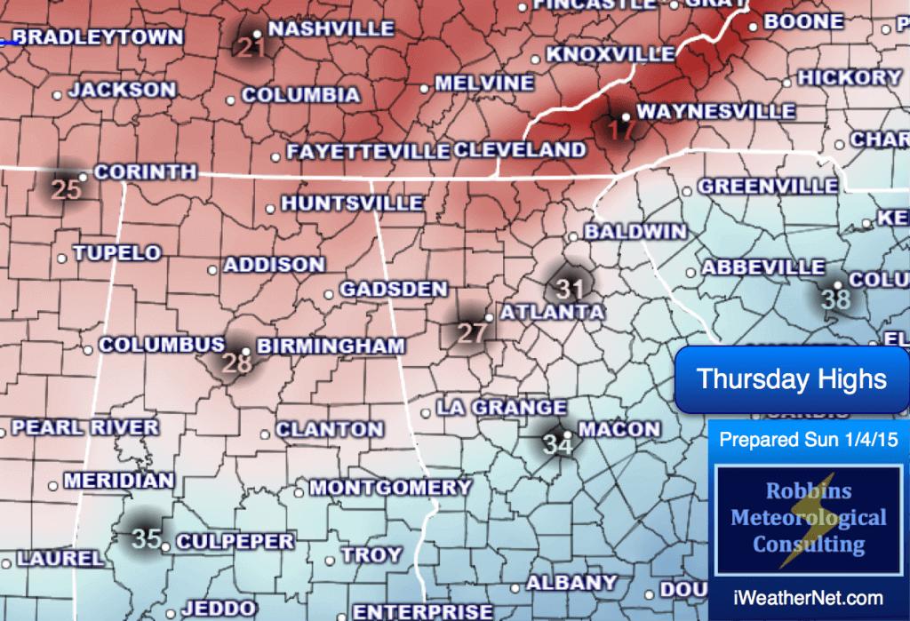Forecast high temperatures for Thursday (1/8/15)