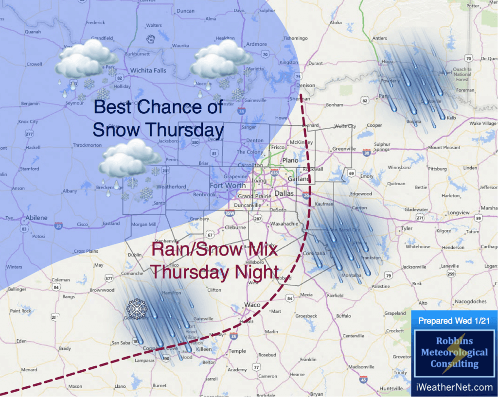Areas with the best chance of snow on Thursday are shaded in blue.