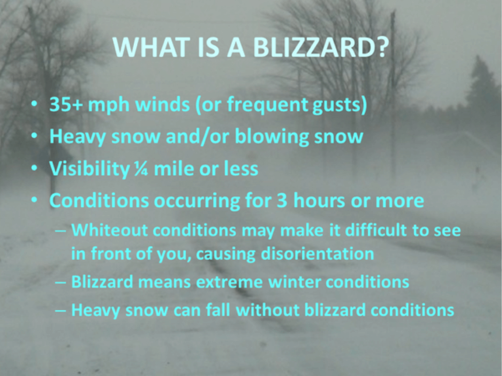 What is a blizzard? These are the official guidelines.