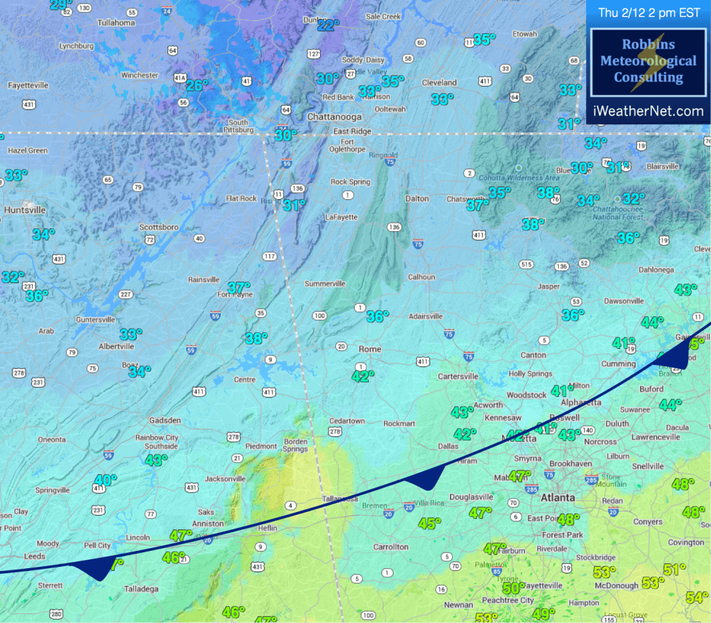 Current temperatures and frontal position (at of 2 pm EST, Thursday 2/12)