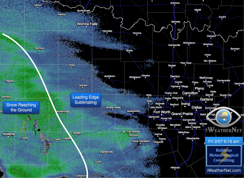 Radar image at 6:15 am, with a white line depicting the approximate location of snow reaching the ground, moving quickly toward the metroplex