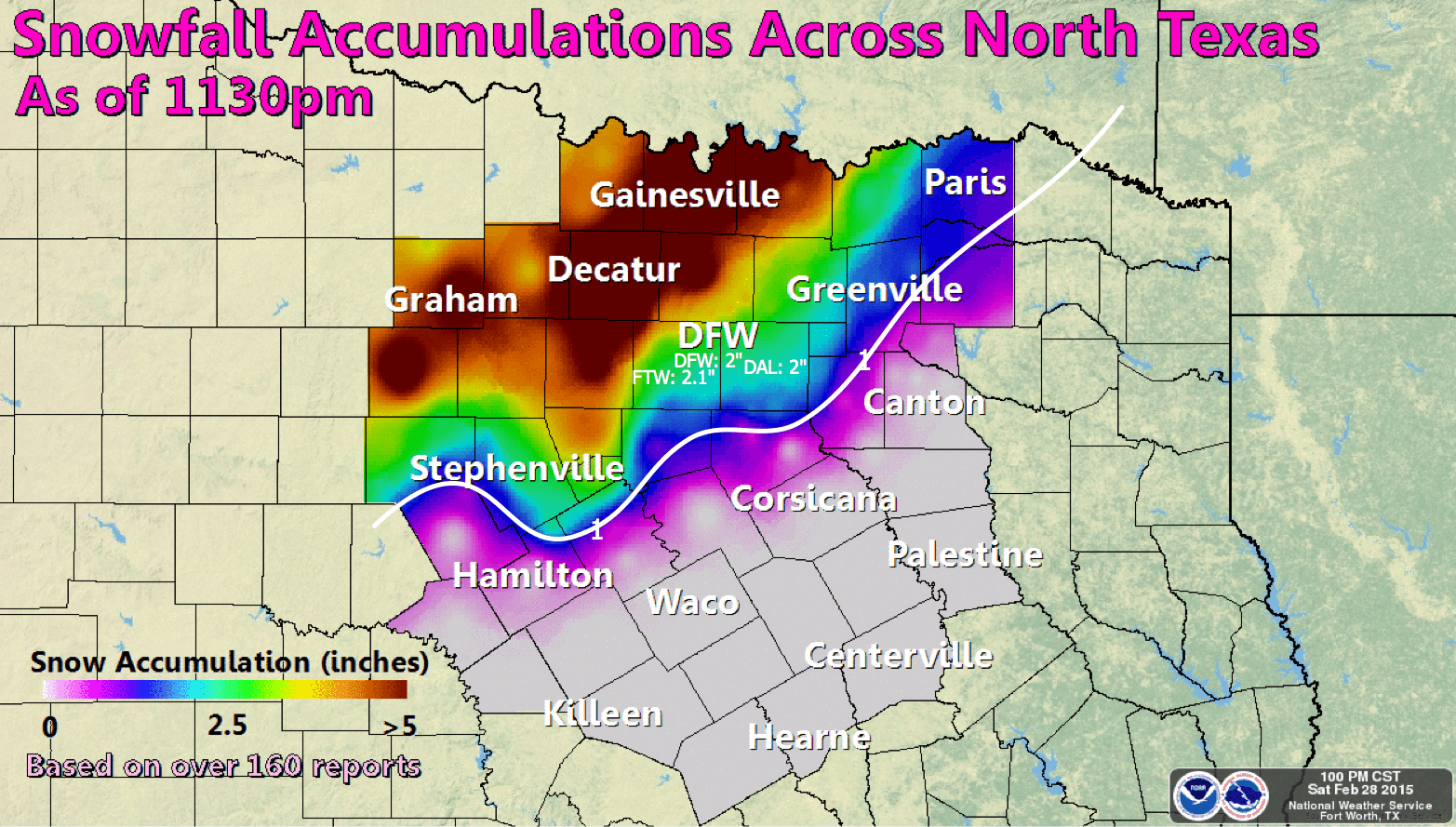 Map Of Texas 2015.Observed Snowfall Amounts In North Texas On Friday February 27