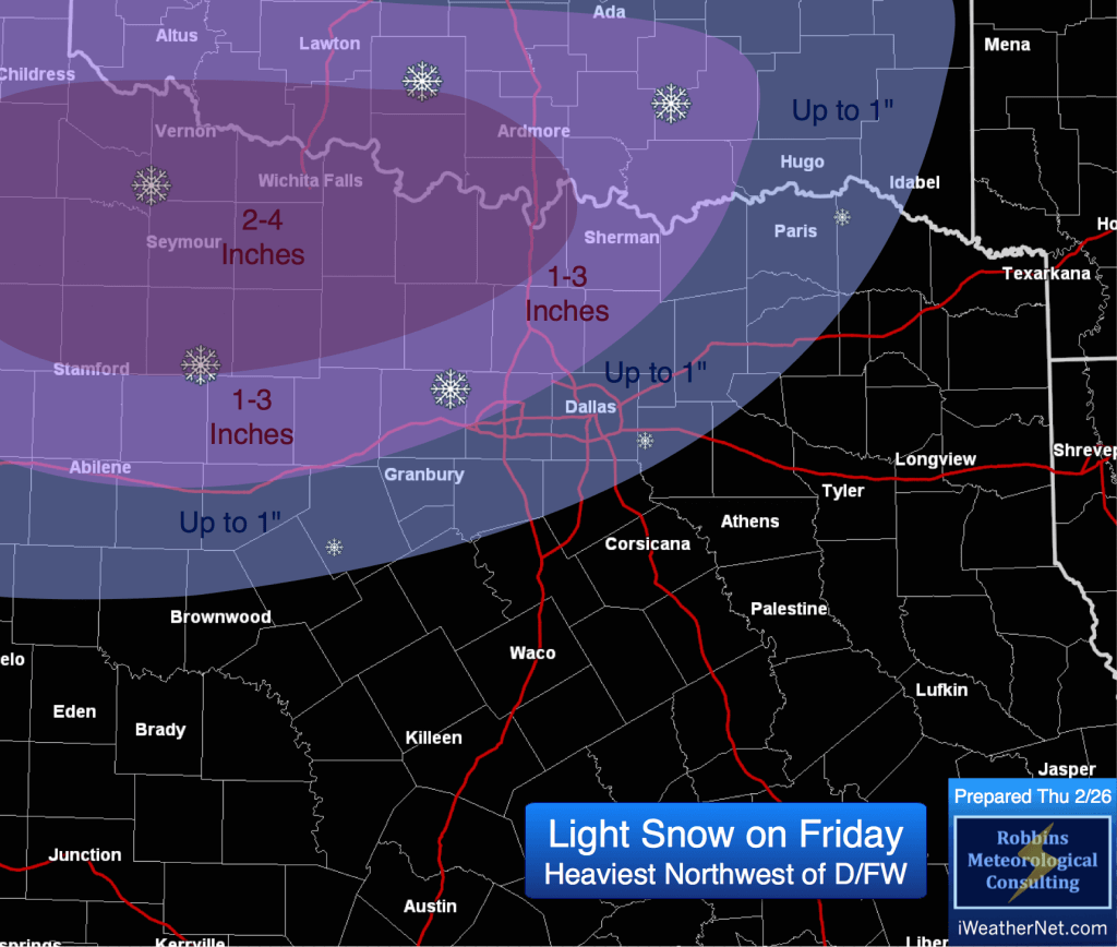 Snowfall accumulation forecast for Friday 2/27 (prepared Thursday 2/26)