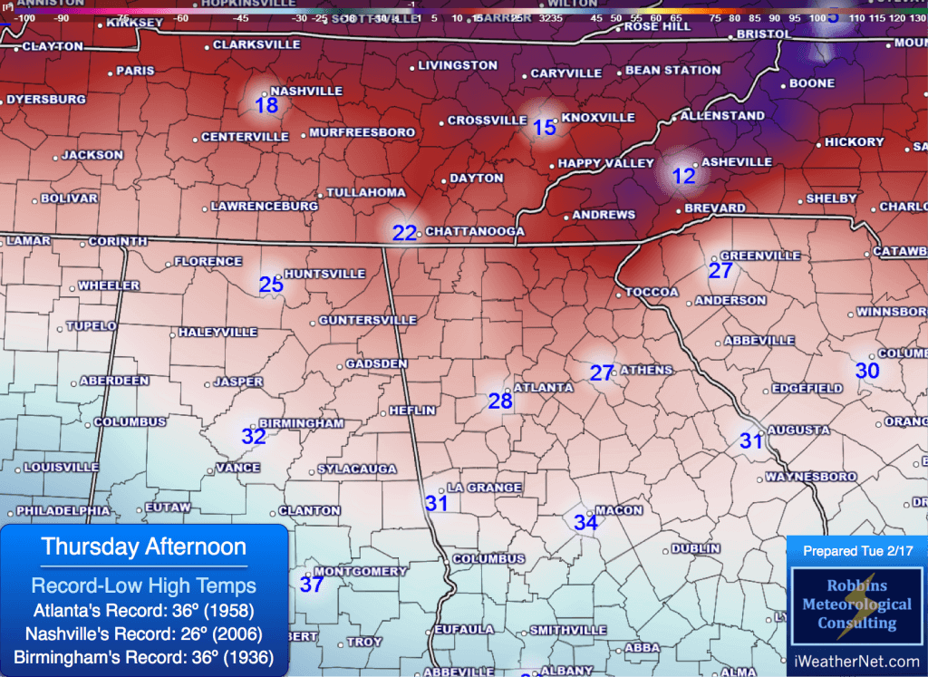 Expected high temperatures Thursday afternoon (2/19)