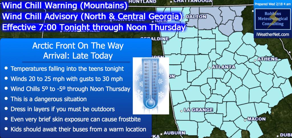 Wind Chill Advisory 7 pm tonight (Wednesday 2/18) through noon tomorrow (Thursday 2/19)