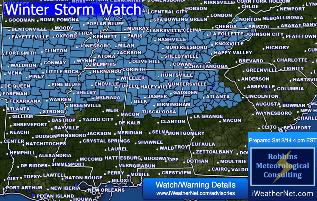 Winter Storm Watch [Issued Saturday 2/14/15]