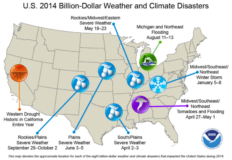 Map summarizing the billion-dollar disasters in the United States in 2014