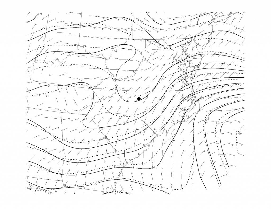 Mean surface composite during freezing rain associated with cold-air damming (Greensboro, NC was the study point). Solid lines are isotherms (ºC), dashed isodrosotherms (dew point, ºC). Wind barbs in knots. Image credit: Chris Robbins, M.S. Thesis