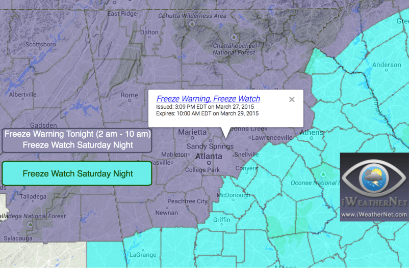 Friday 3/27: Freeze Warning Issued by the NWS for tonight/tomorrow morning; Freeze Watch for tomorrow night.