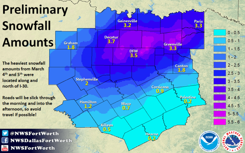North Texas snowfall map for the March 4, 2015 snow storm