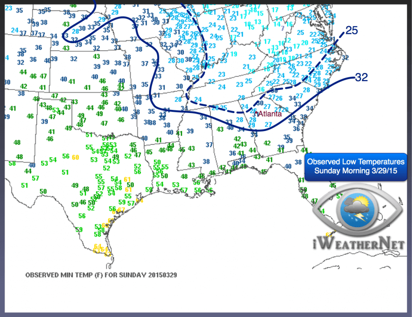 Observed low temperatures on the morning of Sunday, March 29, 2015.