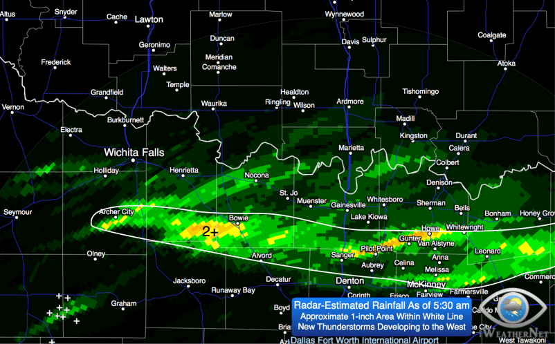 Radar-estimated rainfall as of 5:30 am Friday 3/20. Additional rain/thunderstorms will develop this morning.