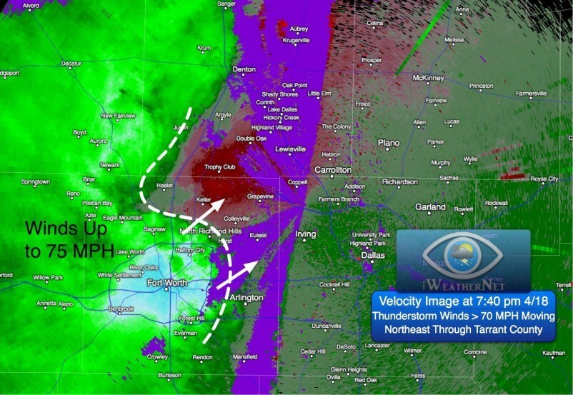 Velocity data from Doppler radar indicating 70+ mph downburst winds moving through Tarrant County at 7:40 pm.