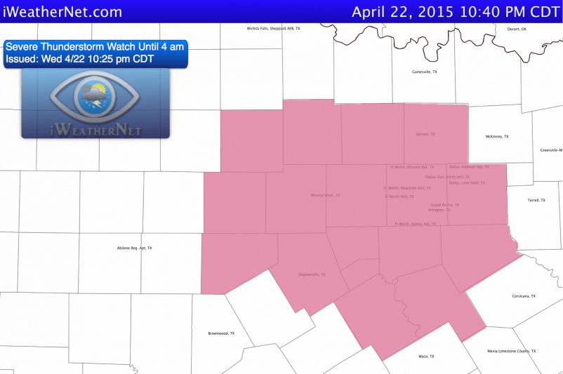 Severe Thunderstorm Watch issued at 10:25 pm 4/22.